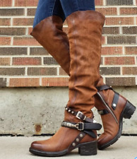 Womens Belt Buckle Mid-Calf Knight Boots Retro Knee High Motorcycle Shoes de-02