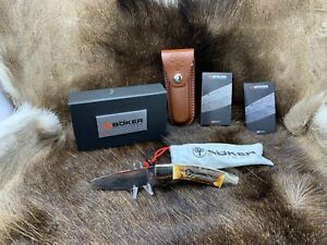 Boker Hunter Stag Knife & Sheath Made In Solingen Germany - Mint In Factory Box