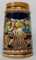 German style beer mug stein cup ceramic hand painted ornate Japan 5 inches Tall