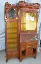 Antique Fancy Oak Side by Side Secretary Desk Cabinet with Bookcase