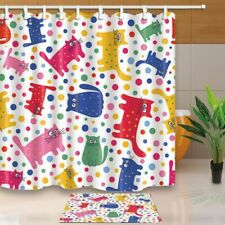 Vector Seamless Pattern With Cute Cats And Doys Fabric Shower Curtain Set
