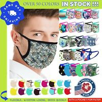 Face Mask MADE IN USA Washable Facemask Pocket for Filter DRY QUICKLY NEW PRINTS