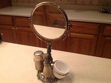 Antique Art Nouveau Men's Shaving Swivel Mirror Brush Shaving Bowl Very Nice!