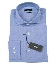 Boss Black Business Shirt Jason in 40 (Slim Fit) Blue with Design