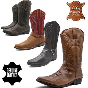 Mens Leather Western Cowboy Boots Cuban Heel Mid Calf Riding Biker Ankle Shoes