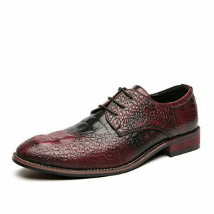 Mens Crocodile Pattern Pointed Toe Oxfords Retro Faux Leather Party Dress Shoes