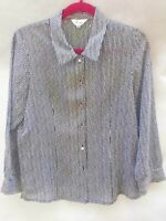 Womens Chinese Black & White Striped Sheer Chiffon L/S Blouse Shirt light Size M
