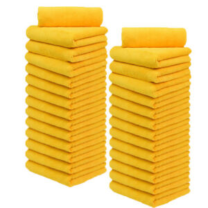 "Microfiber Car Cleaning Towels Lint Free 16"" x 16"" orange Cloth Rags"