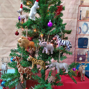 Christmas Ornament Hanging Pendent Simulation Lion Giraffe Leopard Home Decor