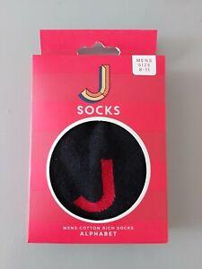 Mens Boxed Letter J Socks,  Size 9-11. Black Socks With Red J. Alphabet Socks