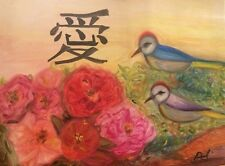 Modern Chinese Painting Love Birds Peonies Flowers by Paula Gabay Original Oil