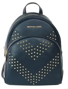 Michael Kors Abbey Backpack Bag Navy Dark Blue Chevron Studded Leather Womens