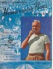 1939 Minnesota-Ohio State Homecoming Program Buckeyes Edge Gophers RARE!!