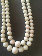 Vintage Double Strand Blush Angel  Skin Coral Graduated Bead  Necklace  Lovely!