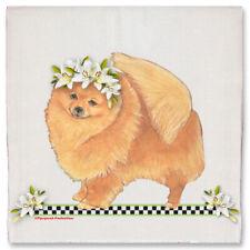 Pomeranian Dog Floral Kitchen Dish Towel Pet Gift