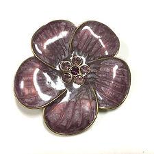 Gorgeous Swirled Purple Enamel & Rhinestone Center Flower Brooch Lot Gold F600k