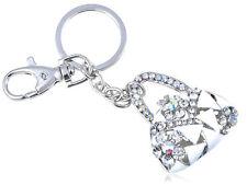 Enamel Iced Crystal Rhines Lady Designer Handbag Purse Hook Clip Keychain