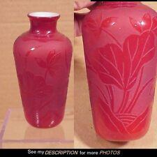 Great Antique Cased Glass Cameo Floral Vase Webb /Barbe