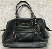 LONGCHAMP black 100% leather medium handbag with gold trim detail & gold lining
