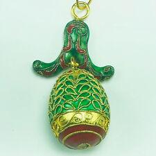 Cloisonne Vintage Collector Egg Ornament gold string Christmas figurine green