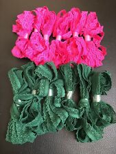 Job lot 12 Bright Pink And Green Lace Craft Sew Stretchy Lace Over 24 Metres
