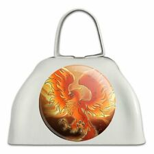 Phoenix Rising from the Flames White Metal Cowbell Cow Bell Instrument