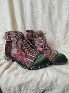 RARE Jeffrey Campbell Floral Mauve Velvet Damask Leather Ankle Boots shoes 8.5