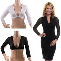 Women Seamless Arm Shaper Top Short Cropped Navel Slip-on Mesh Tank Tops Sleeves