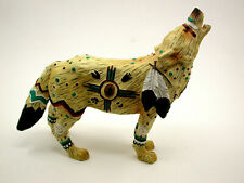 Hand Painted Heavy Native American Motif Howling Wolf Figurine