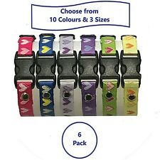 6Adjustable Puppy ID Whelping Collars; Choice of Colours; 3 Sizes; Hearts B