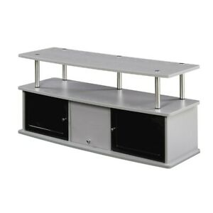 Convenience Concepts Designs2Go TV Stand with 3 Cabinets, Gray - 151202GY
