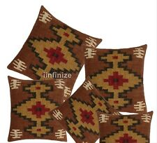 "18x18"" Kilim Vintage Boho Pillows Sham Indian Handmade Wool Jute Cushion Cover"
