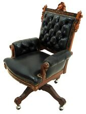 Antique Victorian American Inlaid Swivel Chair in Leather 1800-1899 #1943