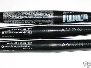 (3) AVON WASH-OFF WATERPROOF BLACK MASCARA NEW & SEALED lot of 3