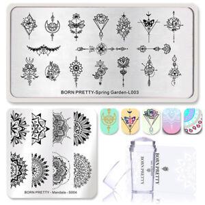 4Pcs/Set BORN PRETTY Nail Stamping Plates Flower Arrow Mandala Stamper & Scraper