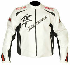 MEN SUZUKI HAYABUSA WHITE MOTORCYCLE RACING LEATHER JACKET Safety PADS XS TO 6XL