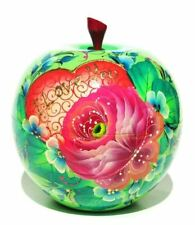 Russian Wooden Love You Green Apple Souvenir Round Keepsake Hand Painted Box