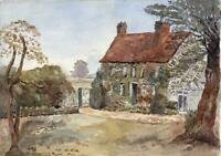 GARDEN & COTTAGE LANDSCAPE - Antique Watercolour Painting - c1910 - 20TH CENTURY
