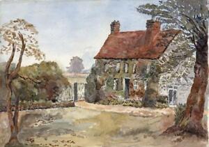 GARDEN & COTTAGE LANDSCAPE - Antique Watercolour Painting - c1910 - 20TH CENTURY