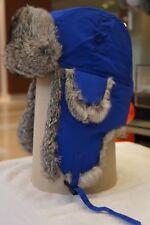 Hunting Aviator Alaskan Trail Rabbit Fur Hat Bomber Royal Blue Shell XLarge (XL)