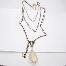 Express signed jewelry cut glass stone teardrop pendant tassel long necklace