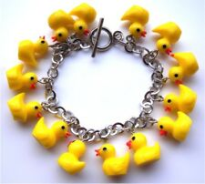 BEAUTIFUL HANDMADE RUBBER DUCK CHARM BRACELET  WITH GIFT BOX
