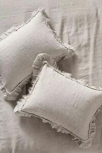 ONE NEW Anthropologie Pom Pom At Home Linen Mathilde Standard Sham Silver Gray