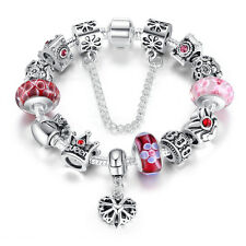 Wostu European 925 silver Charms Bracelet With Red Beads For Love Mother Jewelry