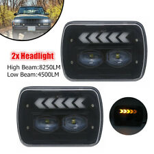 "Rectangular 5x7"" Projector LED Headlights w/DRL for Jeep Wrangler YJ Cherokee XJ"
