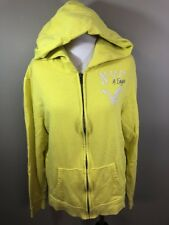 American Eagle Womens Hoodie large graphic Yellow full zip sweatshirt casual