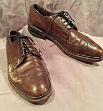 cd7902008d69 Vintage Sears Easy Flex Mens Size 8D Brown Leather Wingtip Shoes Leather  Soles