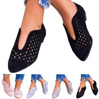 Damen Spitze Flache Halbschuhe Loafers Slip On Sommer Ballerinas Freizeitschuhe