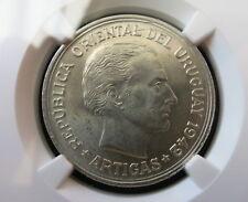 URUGUAY Peso 1942 NGC UNC Details Puma lion