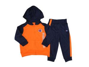 Champion 2-Piece Baby Boys Size 2T Pants + Hooded Jacket Set, Orange/Navy